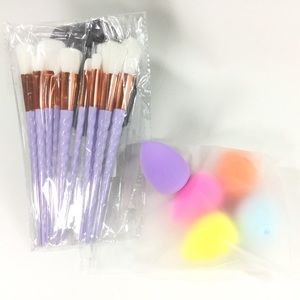 Unicorn makeup brushes and sponges